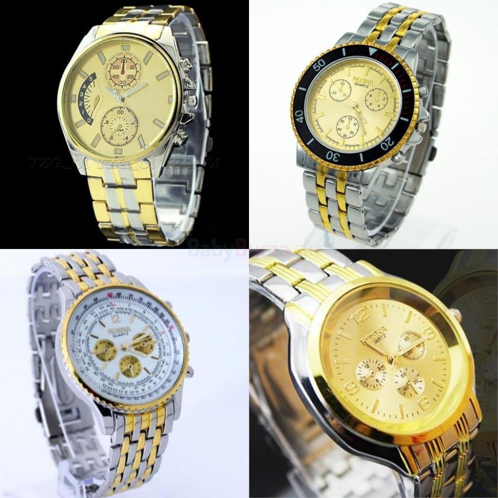 Pánske hodinky strieborno-zlaté - 8 249d2b443a3