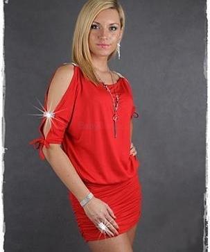 Červené letné minišaty s ozdobnými rukávmi afc098e1082