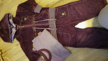 Semišový teplákový trojkomplet - mikina a tričko, veľ. 6 - 9 mes.
