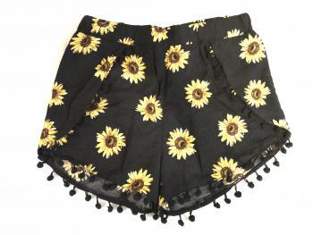 Čierne šortky so slnečnicami
