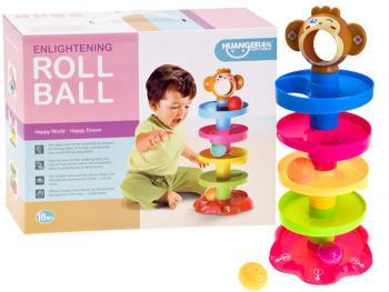 ROLL BALL – Guľôčková dráha, farebná, 3 ks guličiek