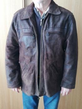 Pánska bunda, brúsená koža, prechodná