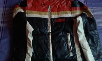 Kožený chlapčenský kabát