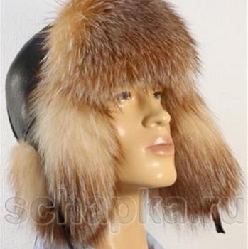 Pánska čiapka - kombinácia pravá kožušina a koža - myval.